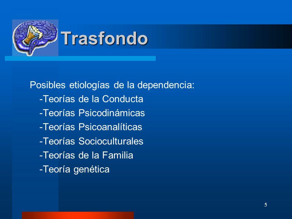 5 Trasfondo Trasfondo Posibles etiologías de la dependencia: -Teorías de la Conducta -Teorías Psicodinámicas -Teorías Psicoanalíticas -Teorías Sociocu