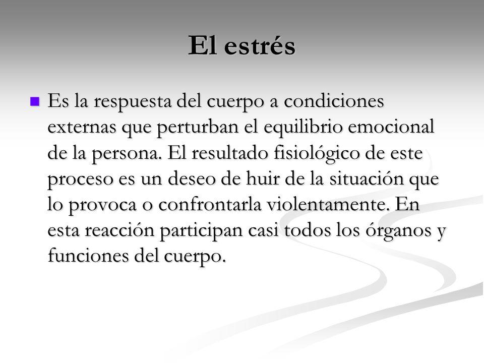 El estrés Es la respuesta del cuerpo a condiciones externas que perturban el equilibrio emocional de la persona.
