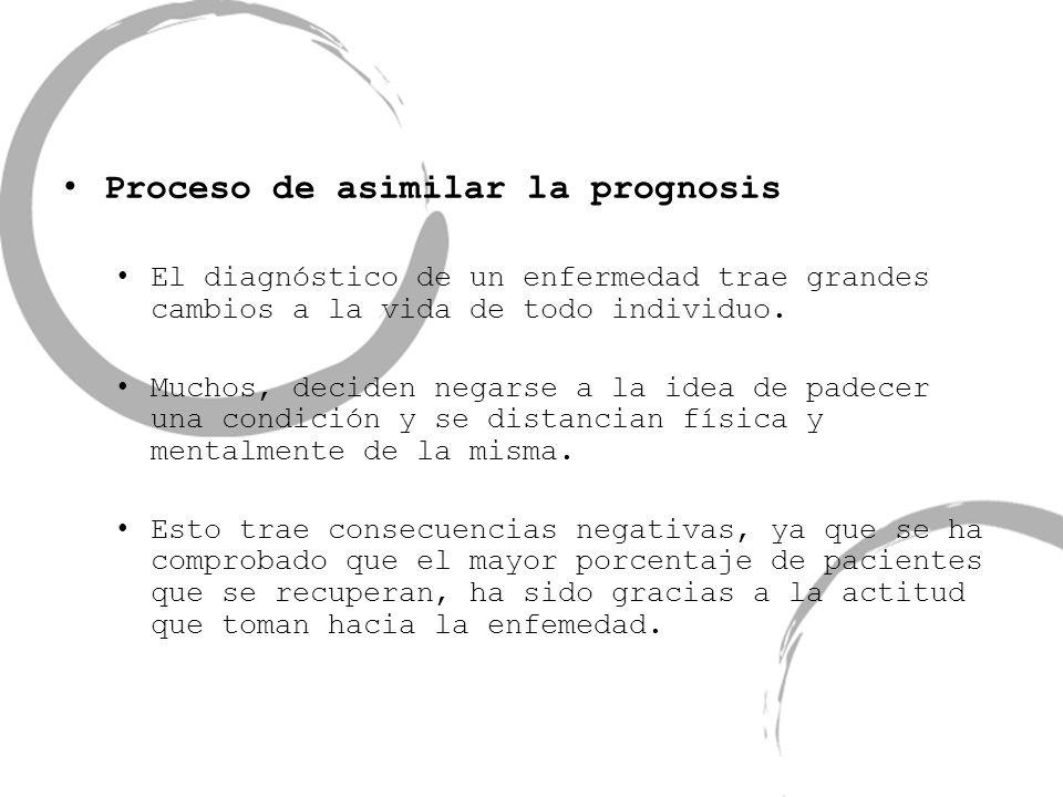 Proceso de asimilar la prognosis El diagnóstico de un enfermedad trae grandes cambios a la vida de todo individuo. Muchos, deciden negarse a la idea d