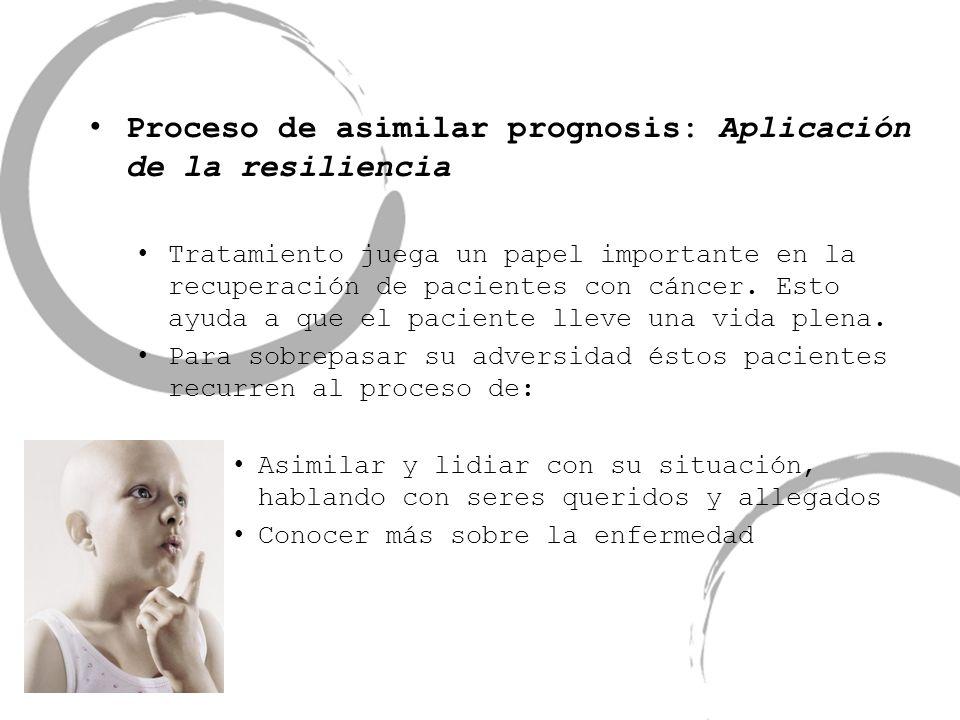 Proceso de asimilar prognosis: Aplicación de la resiliencia Tratamiento juega un papel importante en la recuperación de pacientes con cáncer. Esto ayu