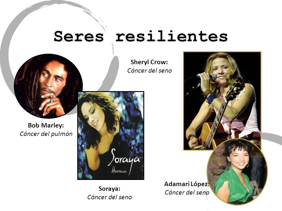 Seres resilientes Bob Marley: Cáncer del pulmón Soraya: Cáncer del seno Adamari López: Cáncer del seno Sheryl Crow: Cáncer del seno