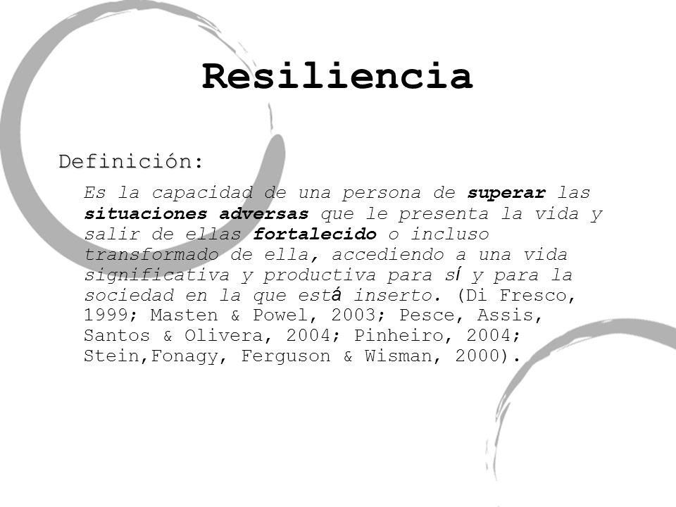 Resiliencia Definición Definición: Es la capacidad de una persona de superar las situaciones adversas que le presenta la vida y salir de ellas fortale