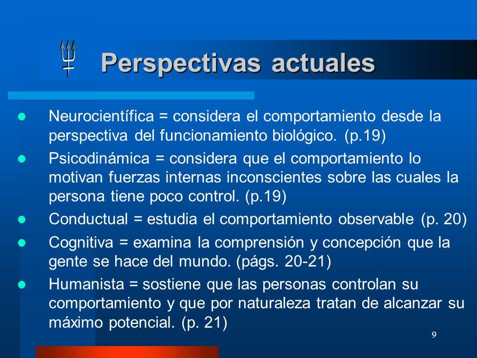 9 Perspectivas actuales Perspectivas actuales Neurocientífica = considera el comportamiento desde la perspectiva del funcionamiento biológico. (p.19)