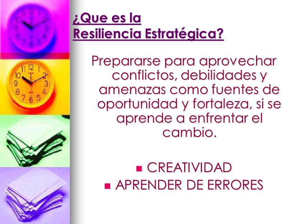 ¿Que es la Resiliencia Estratégica? Prepararse para aprovechar conflictos, debilidades y amenazas como fuentes de oportunidad y fortaleza, si se apren