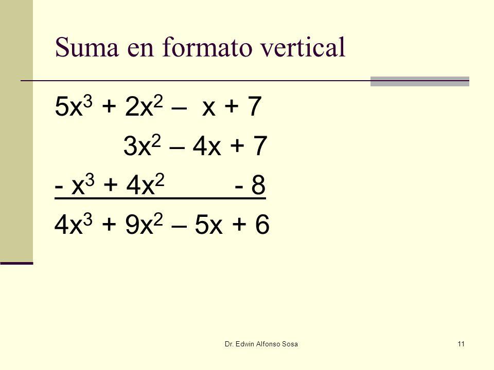 Dr. Edwin Alfonso Sosa11 Suma en formato vertical 5x 3 + 2x 2 – x + 7 3x 2 – 4x + 7 - x 3 + 4x 2 - 8 4x 3 + 9x 2 – 5x + 6