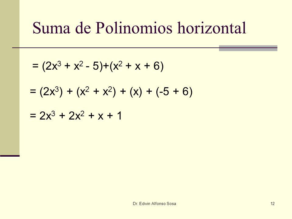 Dr. Edwin Alfonso Sosa12 Suma de Polinomios horizontal = (2x 3 ) + (x 2 + x 2 ) + (x) + (-5 + 6) = (2x 3 + x 2 - 5)+(x 2 + x + 6) = 2x 3 + 2x 2 + x +