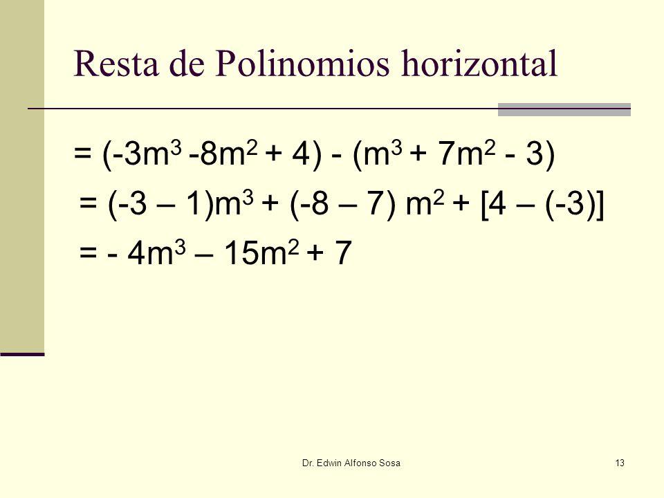 Dr. Edwin Alfonso Sosa13 Resta de Polinomios horizontal = (-3m 3 -8m 2 + 4) - (m 3 + 7m 2 - 3) = (-3 – 1)m 3 + (-8 – 7) m 2 + [4 – (-3)] = - 4m 3 – 15