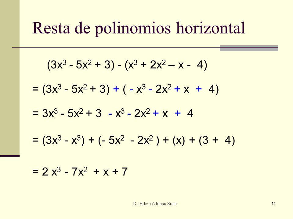 Dr. Edwin Alfonso Sosa14 Resta de polinomios horizontal (3x 3 - 5x 2 + 3) - (x 3 + 2x 2 – x - 4) = (3x 3 - 5x 2 + 3) + ( - x 3 - 2x 2 + x + 4) = 3x 3