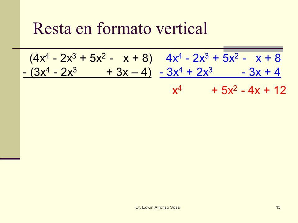 Dr. Edwin Alfonso Sosa15 Resta en formato vertical (4x 4 - 2x 3 + 5x 2 - x + 8) - (3x 4 - 2x 3 + 3x – 4) 4x 4 - 2x 3 + 5x 2 - x + 8 - 3x 4 + 2x 3 - 3x