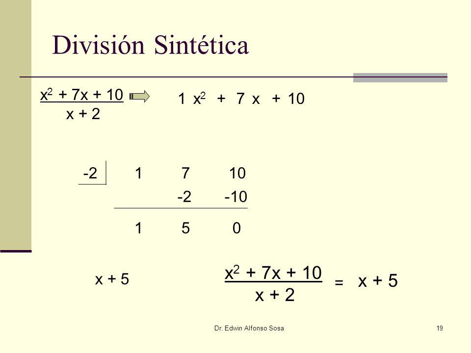 Dr. Edwin Alfonso Sosa19 División Sintética -2 x 2 + 7x + 10 x + 2 x2x2 7+x+10 1710 1 -2 5 -10 0 1 x + 5 x 2 + 7x + 10 x + 2 = x + 5