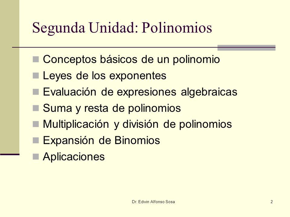 Dr. Edwin Alfonso Sosa2 Segunda Unidad: Polinomios Conceptos básicos de un polinomio Leyes de los exponentes Evaluación de expresiones algebraicas Sum