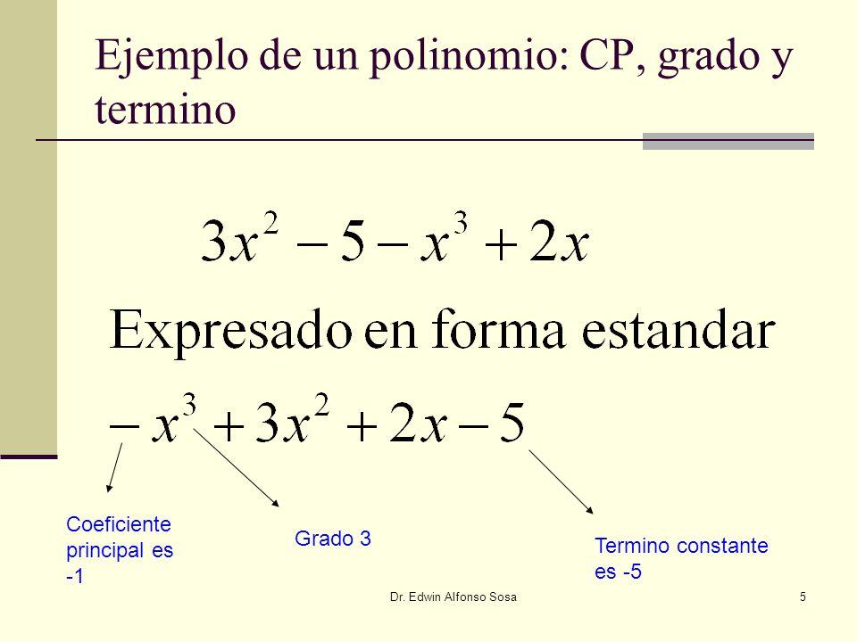 Dr. Edwin Alfonso Sosa5 Ejemplo de un polinomio: CP, grado y termino Grado 3 Coeficiente principal es -1 Termino constante es -5