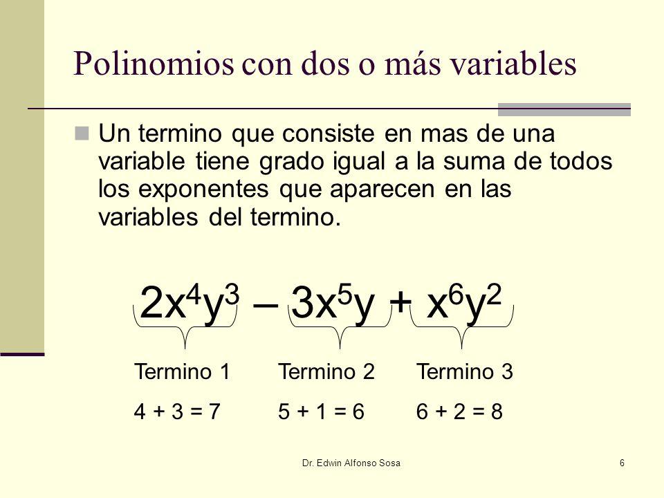Dr. Edwin Alfonso Sosa6 Polinomios con dos o más variables Un termino que consiste en mas de una variable tiene grado igual a la suma de todos los exp