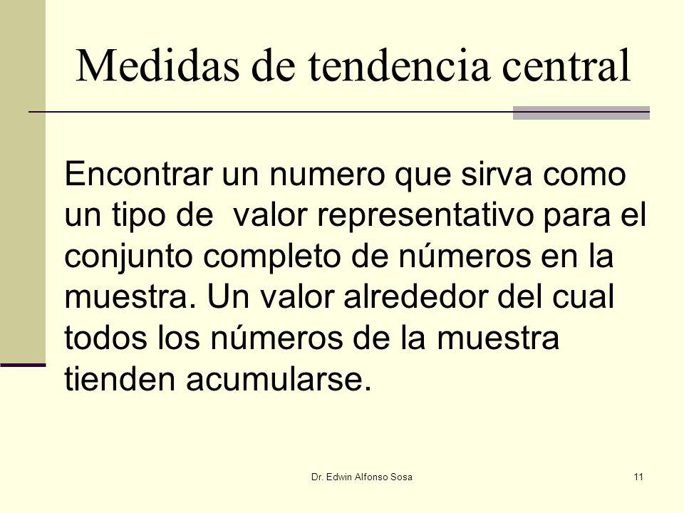 Dr. Edwin Alfonso Sosa11 Encontrar un numero que sirva como un tipo de valor representativo para el conjunto completo de números en la muestra. Un val