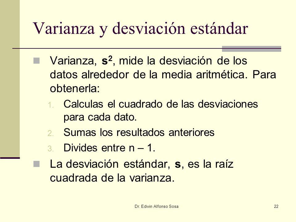 Dr. Edwin Alfonso Sosa22 Varianza y desviación estándar Varianza, s 2, mide la desviación de los datos alrededor de la media aritmética. Para obtenerl
