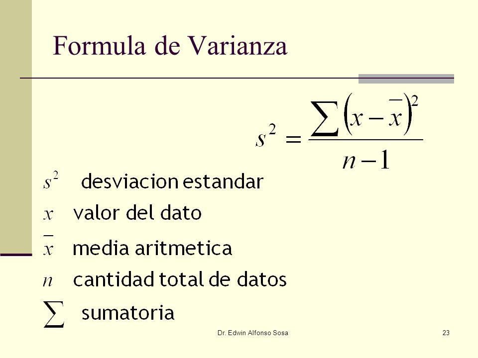 Dr. Edwin Alfonso Sosa23 Formula de Varianza