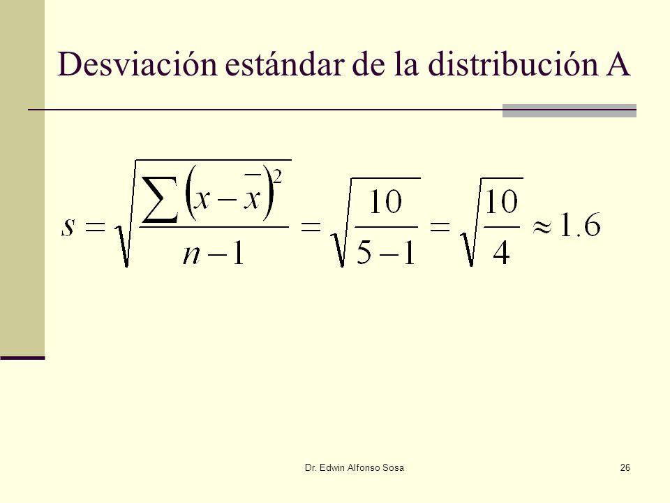 Dr. Edwin Alfonso Sosa26 Desviación estándar de la distribución A