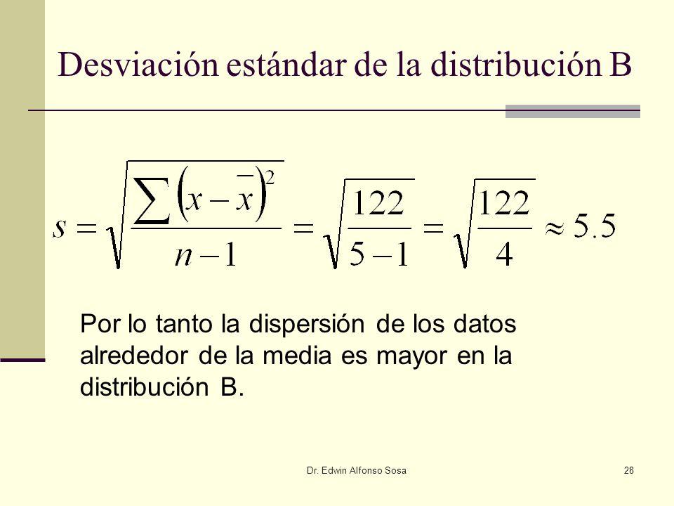 Dr. Edwin Alfonso Sosa28 Desviación estándar de la distribución B Por lo tanto la dispersión de los datos alrededor de la media es mayor en la distrib