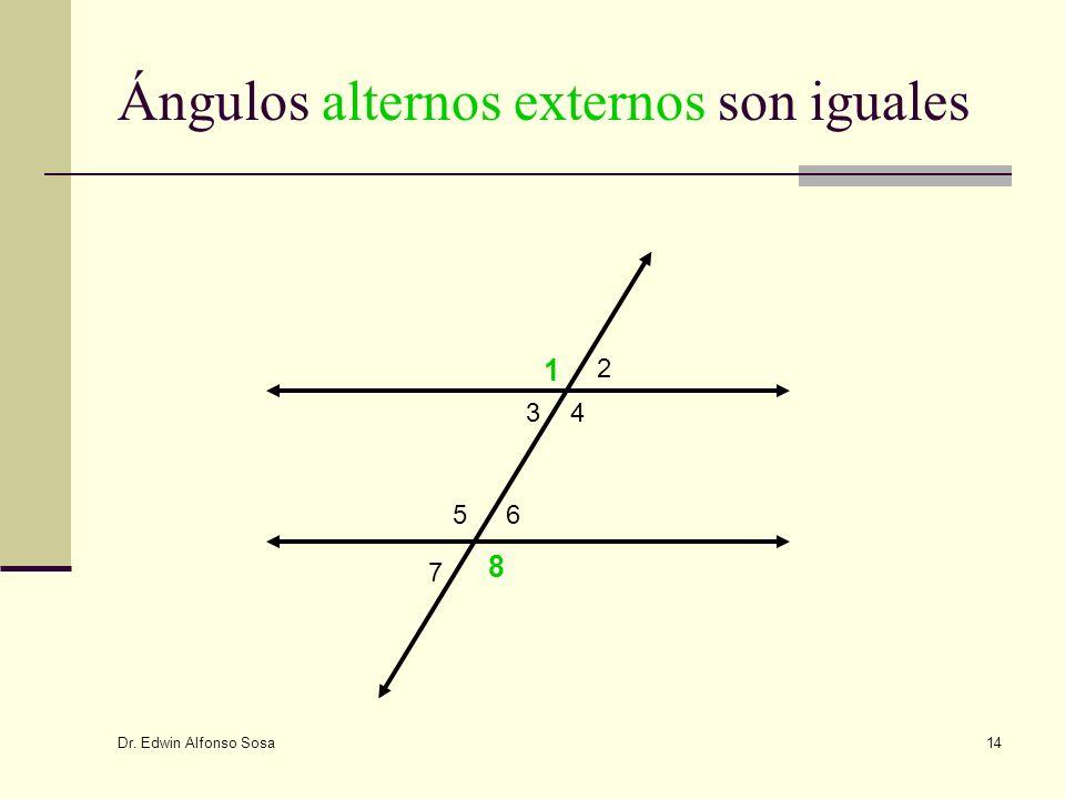 Dr. Edwin Alfonso Sosa 14 Ángulos alternos externos son iguales 1 2 34 56 7 8
