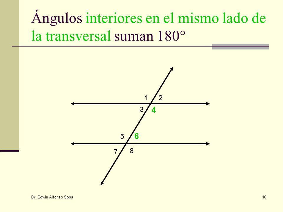 Dr. Edwin Alfonso Sosa 16 Ángulos interiores en el mismo lado de la transversal suman 180° 12 3 4 5 6 7 8