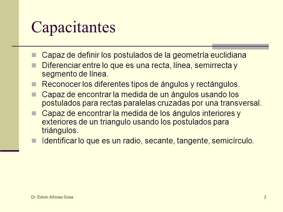 Dr. Edwin Alfonso Sosa 2 Capacitantes Capaz de definir los postulados de la geometría euclidiana Diferenciar entre lo que es una recta, línea, semirre