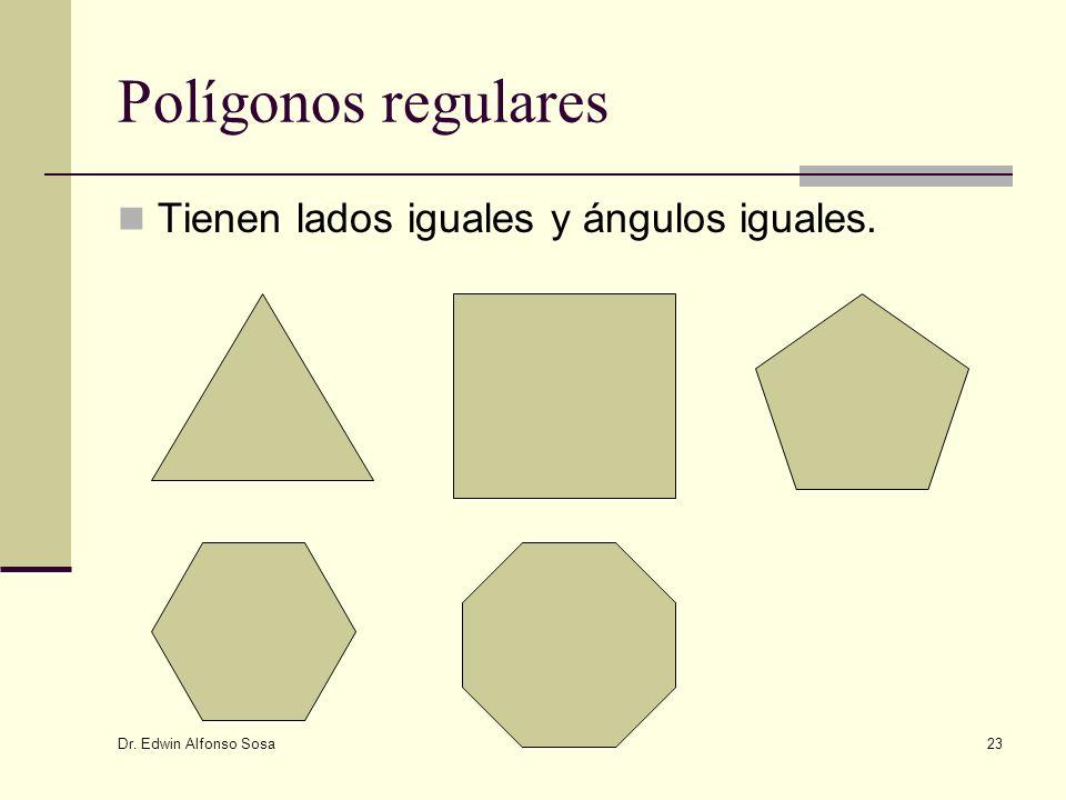 Dr. Edwin Alfonso Sosa 23 Polígonos regulares Tienen lados iguales y ángulos iguales.