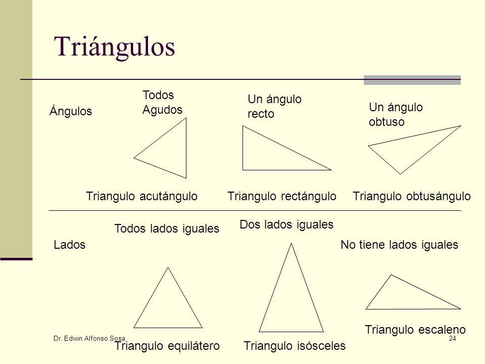 Dr. Edwin Alfonso Sosa 24 Triángulos Ángulos Lados Todos Agudos Un ángulo recto Un ángulo obtuso Triangulo acutánguloTriangulo rectánguloTriangulo obt