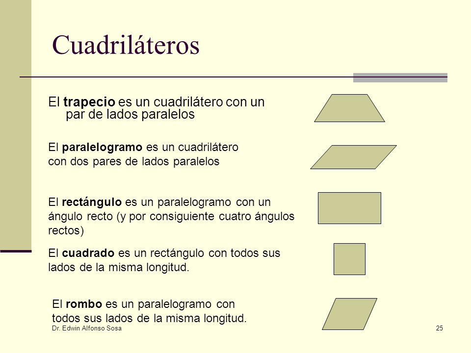 Dr. Edwin Alfonso Sosa 25 Cuadriláteros El trapecio es un cuadrilátero con un par de lados paralelos El paralelogramo es un cuadrilátero con dos pares