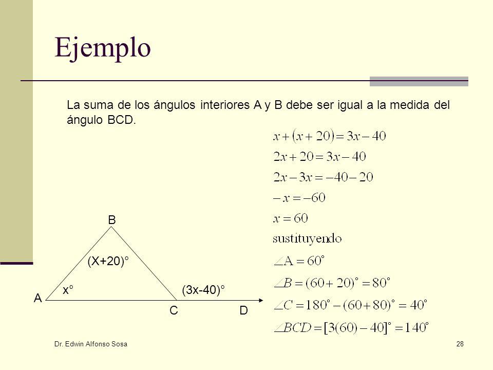 Dr. Edwin Alfonso Sosa 28 Ejemplo x°x° (X+20)° (3x-40)° A B CD La suma de los ángulos interiores A y B debe ser igual a la medida del ángulo BCD.