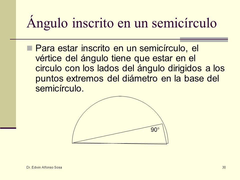 Dr. Edwin Alfonso Sosa 30 Ángulo inscrito en un semicírculo Para estar inscrito en un semicírculo, el vértice del ángulo tiene que estar en el circulo