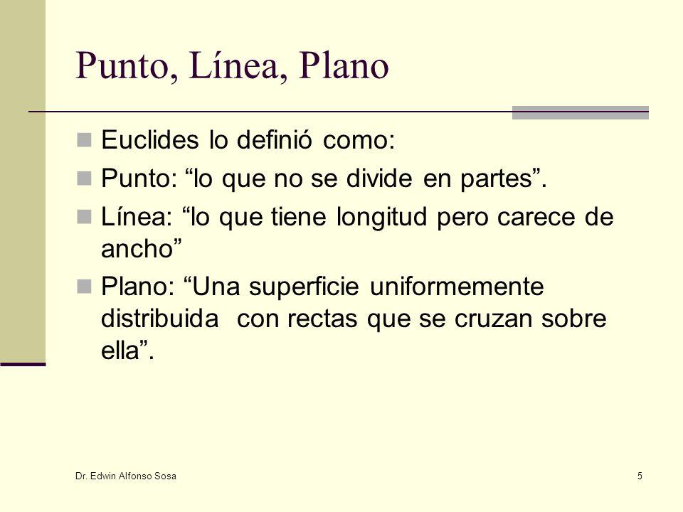 Dr. Edwin Alfonso Sosa 5 Punto, Línea, Plano Euclides lo definió como: Punto: lo que no se divide en partes. Línea: lo que tiene longitud pero carece