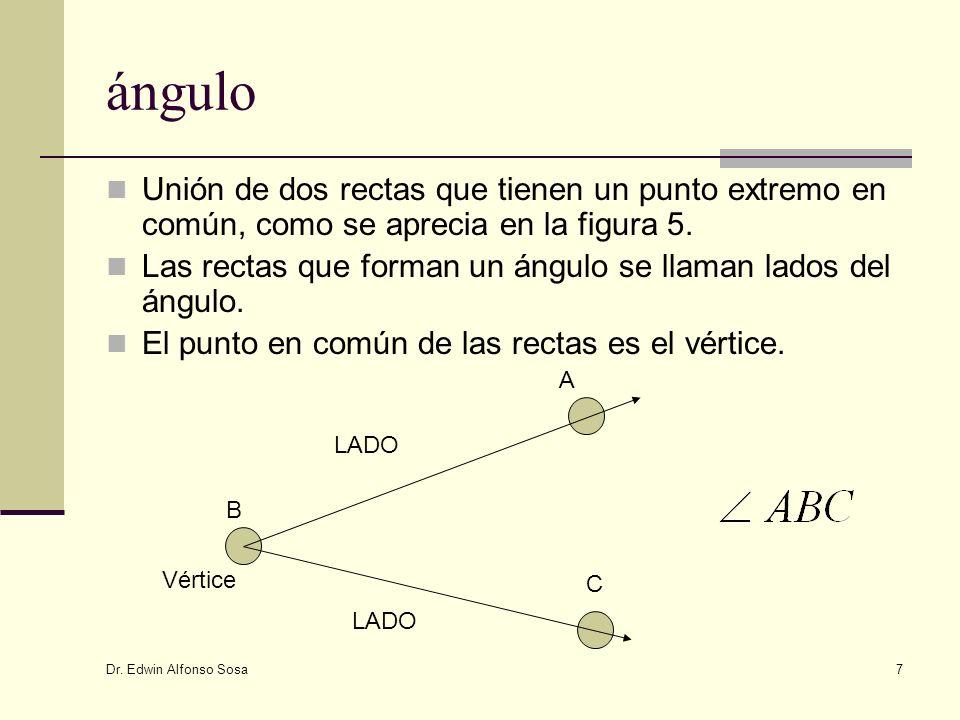 Dr. Edwin Alfonso Sosa 7 ángulo Unión de dos rectas que tienen un punto extremo en común, como se aprecia en la figura 5. Las rectas que forman un áng