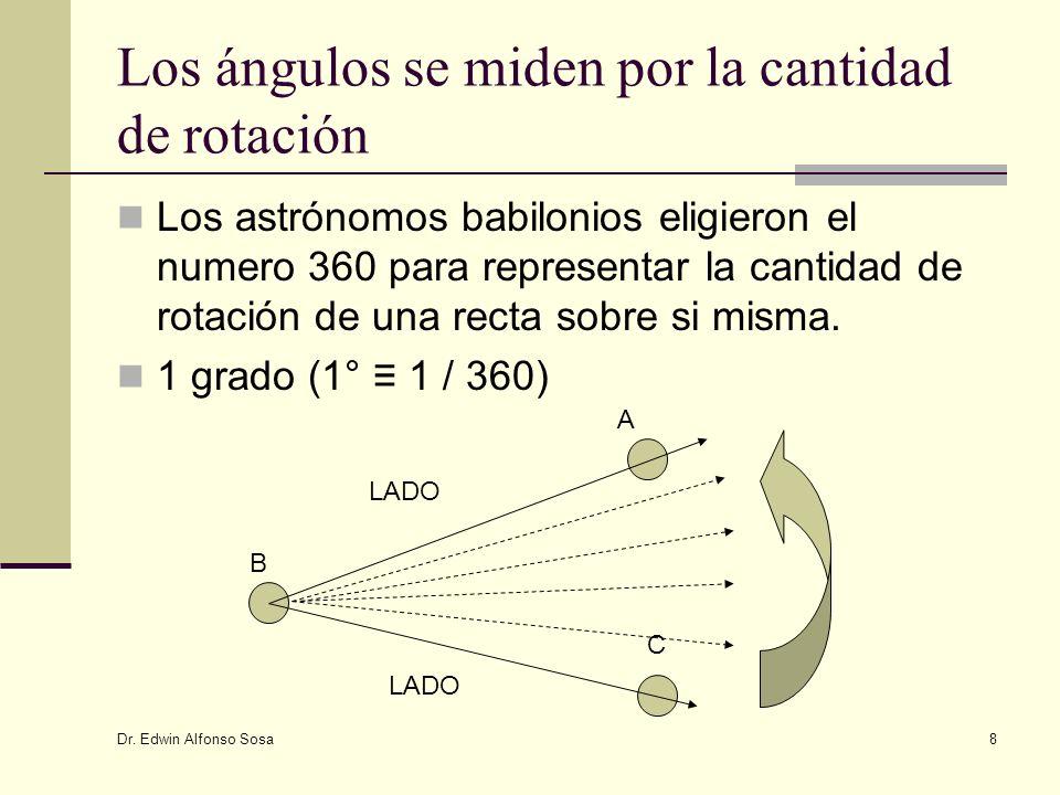 Dr. Edwin Alfonso Sosa 8 Los ángulos se miden por la cantidad de rotación Los astrónomos babilonios eligieron el numero 360 para representar la cantid