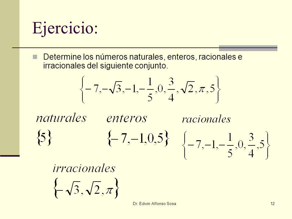 Dr. Edwin Alfonso Sosa12 Ejercicio: Determine los números naturales, enteros, racionales e irracionales del siguiente conjunto.