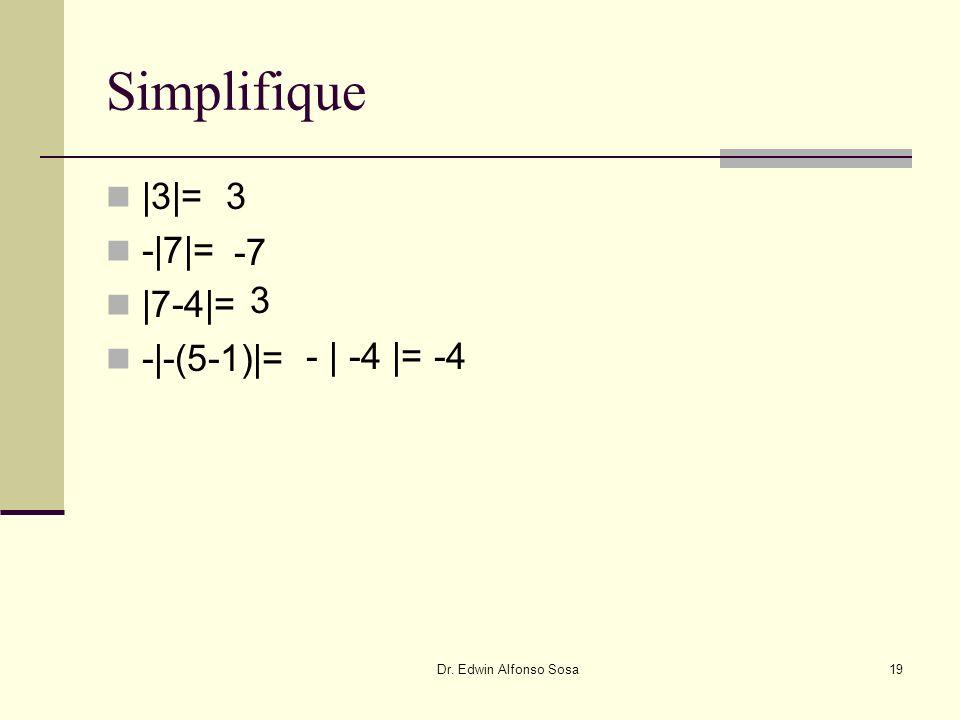 Dr. Edwin Alfonso Sosa19 |3|= -|7|= |7-4|= -|-(5-1)|= Simplifique 3 -7 3 - | -4 |= -4