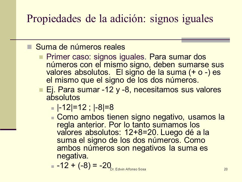 Dr. Edwin Alfonso Sosa20 Propiedades de la adición: signos iguales Suma de números reales Primer caso: signos iguales. Para sumar dos números con el m