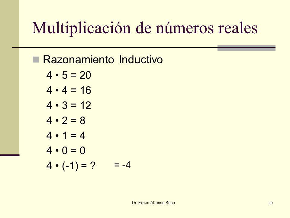 Dr. Edwin Alfonso Sosa25 Multiplicación de números reales Razonamiento Inductivo 4 5 = 20 4 4 = 16 4 3 = 12 4 2 = 8 4 1 = 4 4 0 = 0 4 (-1) = ? = -4
