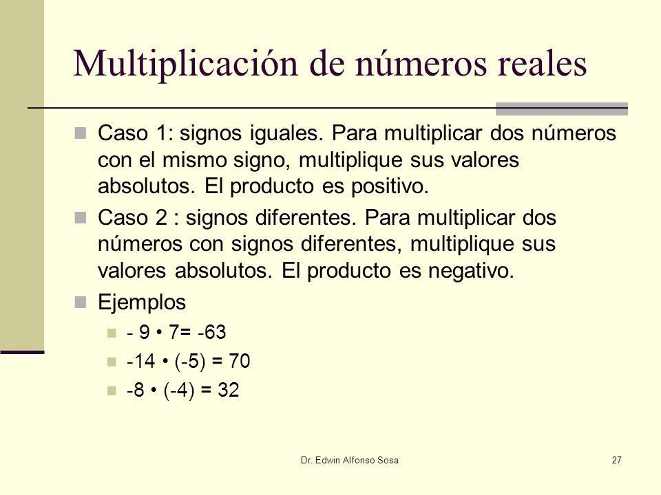Dr. Edwin Alfonso Sosa27 Multiplicación de números reales Caso 1: signos iguales. Para multiplicar dos números con el mismo signo, multiplique sus val