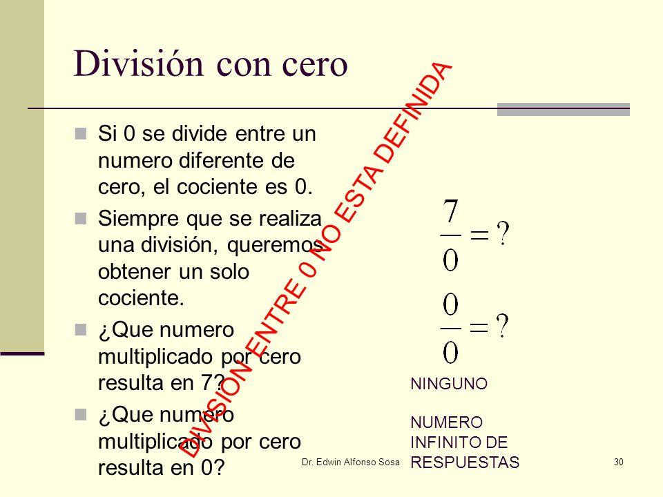 Dr. Edwin Alfonso Sosa30 División con cero Si 0 se divide entre un numero diferente de cero, el cociente es 0. Siempre que se realiza una división, qu