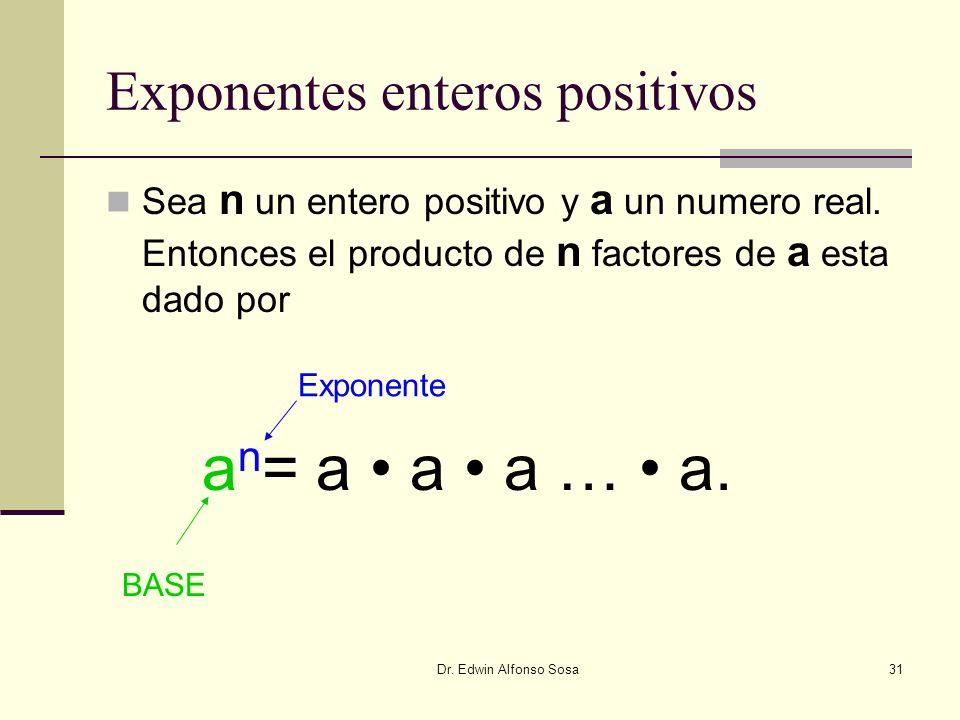 Dr. Edwin Alfonso Sosa31 Exponentes enteros positivos Sea n un entero positivo y a un numero real. Entonces el producto de n factores de a esta dado p