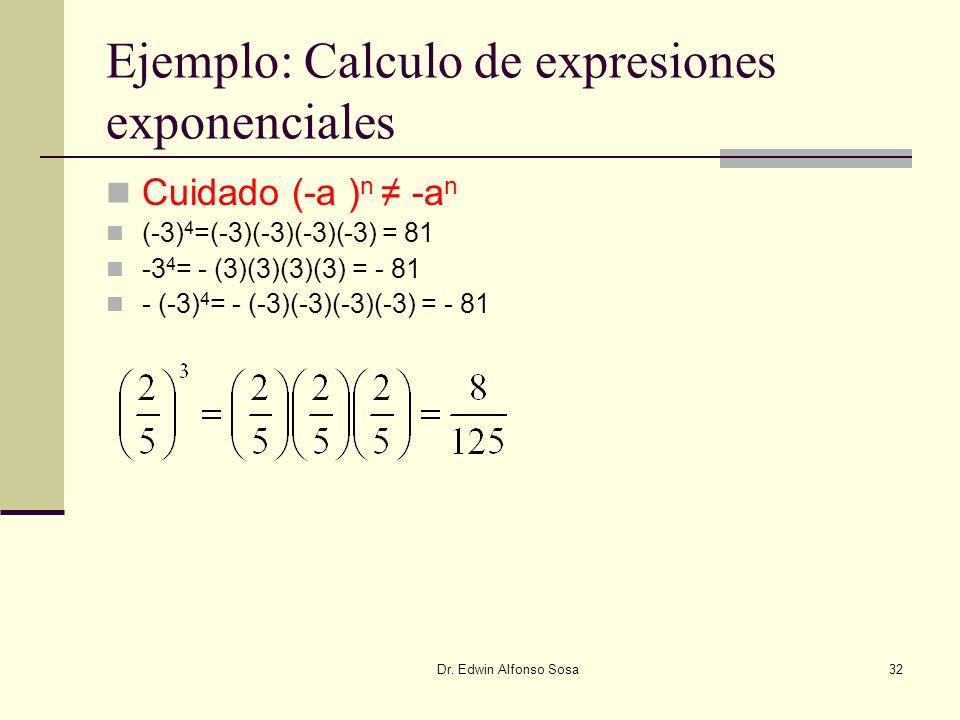 Dr. Edwin Alfonso Sosa32 Ejemplo: Calculo de expresiones exponenciales Cuidado (-a ) n -a n (-3) 4 =(-3)(-3)(-3)(-3) = 81 -3 4 = - (3)(3)(3)(3) = - 81