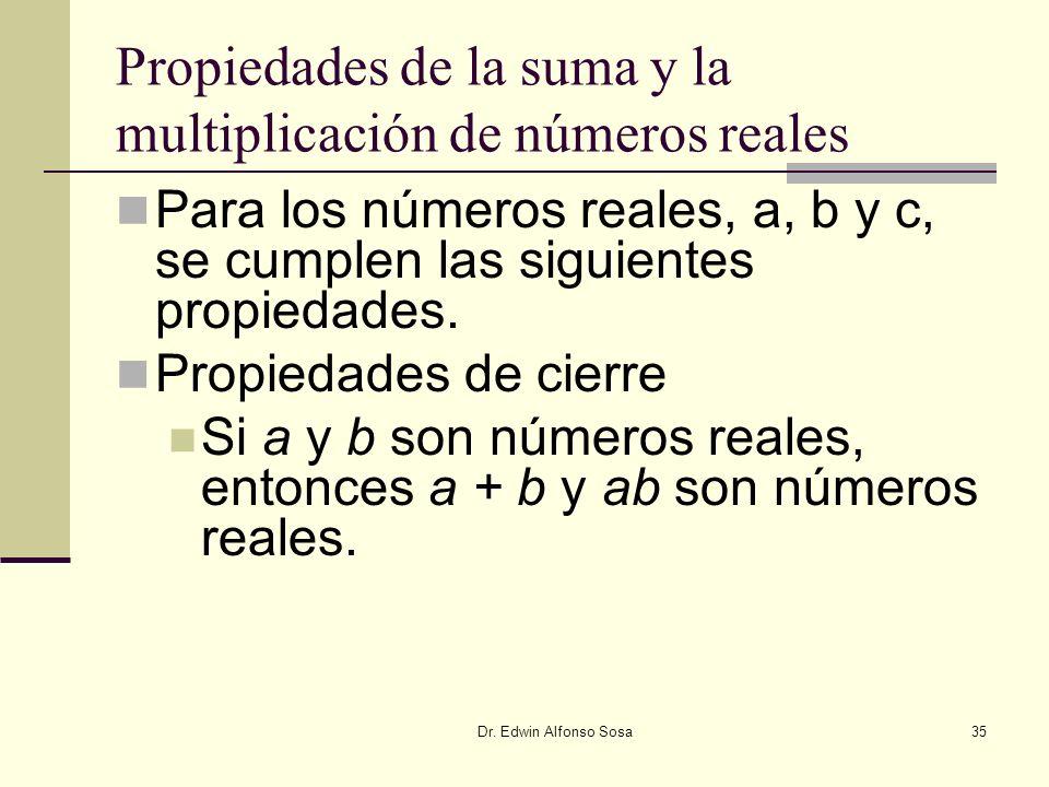 Dr. Edwin Alfonso Sosa35 Propiedades de la suma y la multiplicación de números reales Para los números reales, a, b y c, se cumplen las siguientes pro
