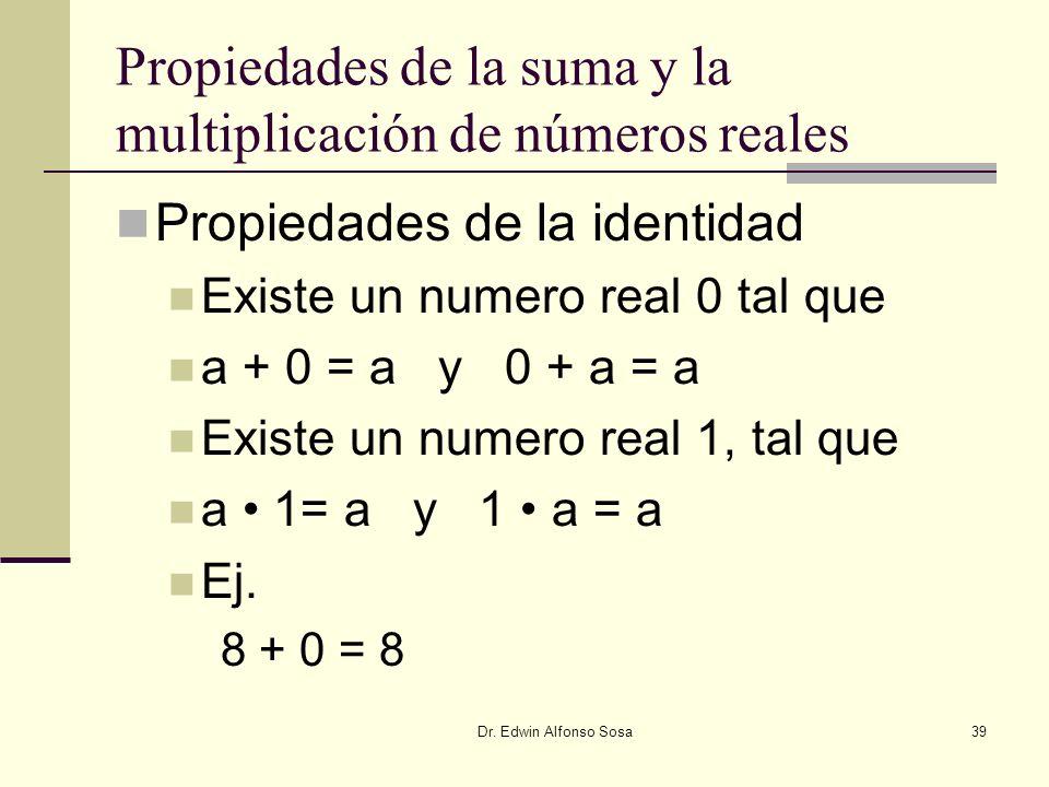 Dr. Edwin Alfonso Sosa39 Propiedades de la suma y la multiplicación de números reales Propiedades de la identidad Existe un numero real 0 tal que a +
