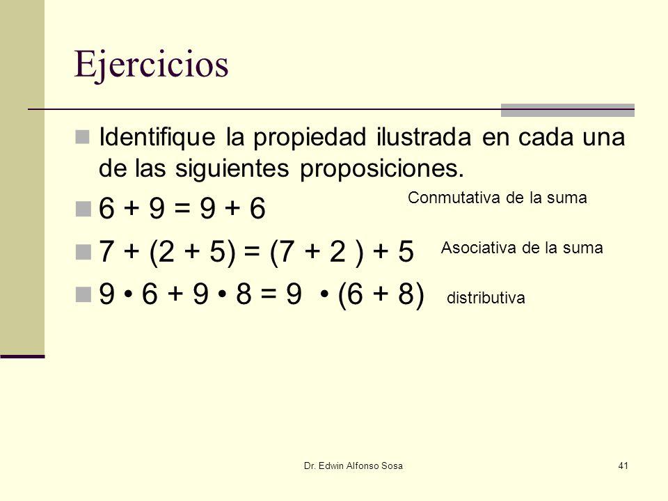 Dr. Edwin Alfonso Sosa41 Ejercicios Identifique la propiedad ilustrada en cada una de las siguientes proposiciones. 6 + 9 = 9 + 6 7 + (2 + 5) = (7 + 2