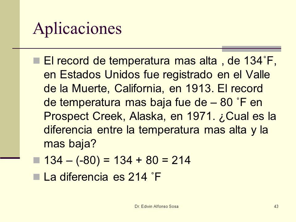 Dr. Edwin Alfonso Sosa43 Aplicaciones El record de temperatura mas alta, de 134˚F, en Estados Unidos fue registrado en el Valle de la Muerte, Californ