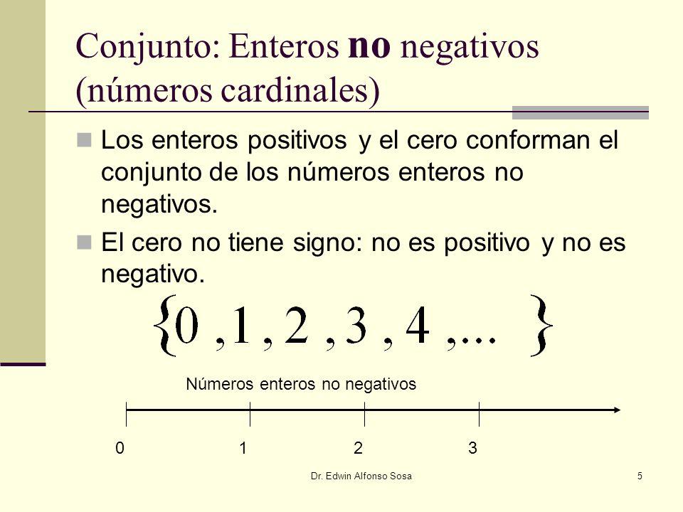Dr. Edwin Alfonso Sosa5 Conjunto: Enteros no negativos (números cardinales) Los enteros positivos y el cero conforman el conjunto de los números enter