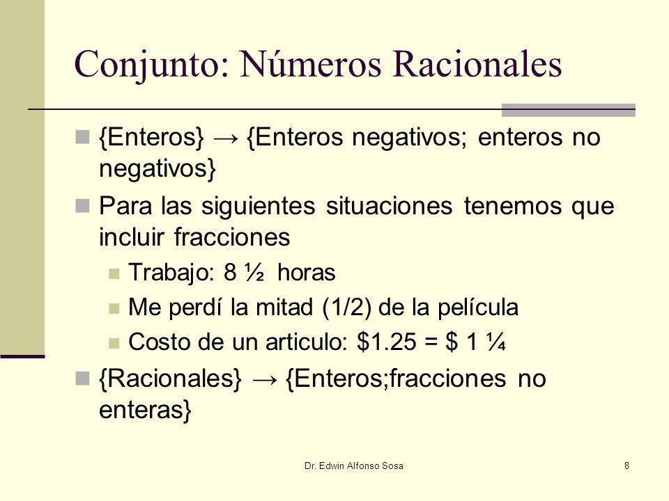 Dr. Edwin Alfonso Sosa8 Conjunto: Números Racionales {Enteros} {Enteros negativos; enteros no negativos} Para las siguientes situaciones tenemos que i