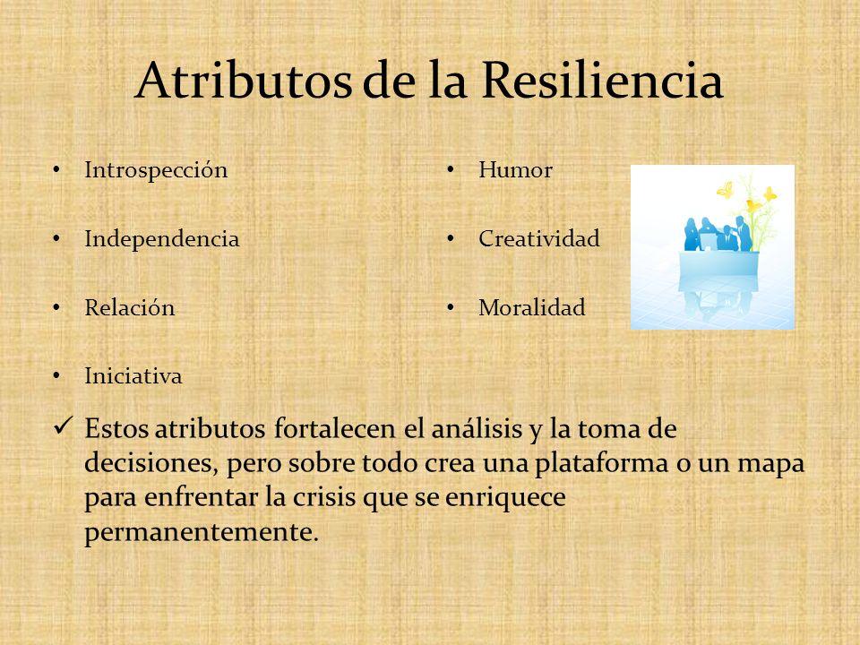 Atributos de la Resiliencia Introspección Independencia Relación Iniciativa Humor Creatividad Moralidad Estos atributos fortalecen el análisis y la to