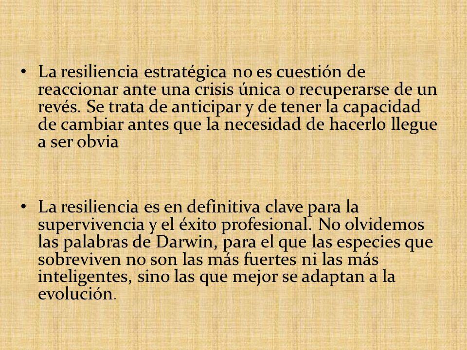 Resiliencia en las empresas El elemento mas común en las empresas resilientes es la cultura.