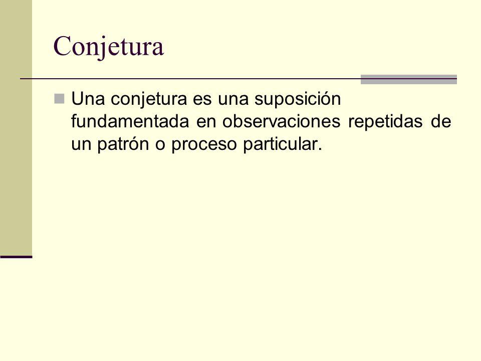 Razonamiento Inductivo El razonamiento inductivo se caracteriza por sacar una conclusión general (haciendo una conjetura) a partir de observaciones repetidas de ejemplos específicos.